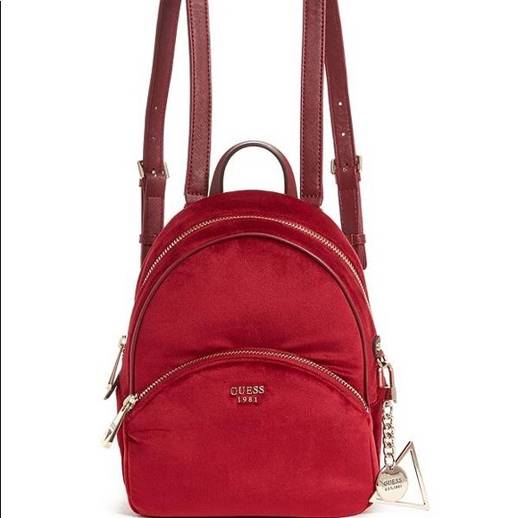 66476ede1a34 GUESS Brandyn Small Red Velvet Backpack